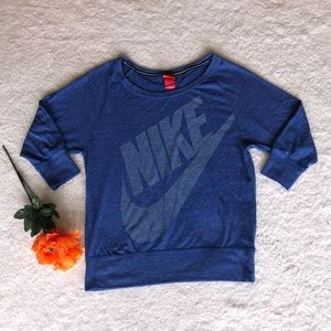 NIKE blue long sleeve blouse SIZE M